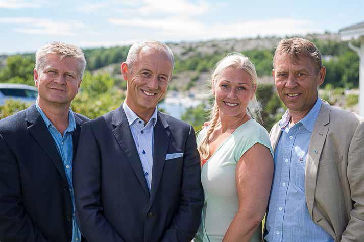 Fra venstre: Dag W. Eriksen (rådmann), Thor Moen (Smart Energi Hvaler), Hege Cecilie Bjørnerud (Kommunalsjef samfunnsutvikling) og Lars H. Larsen (Kommunalsjef helse og sosial).